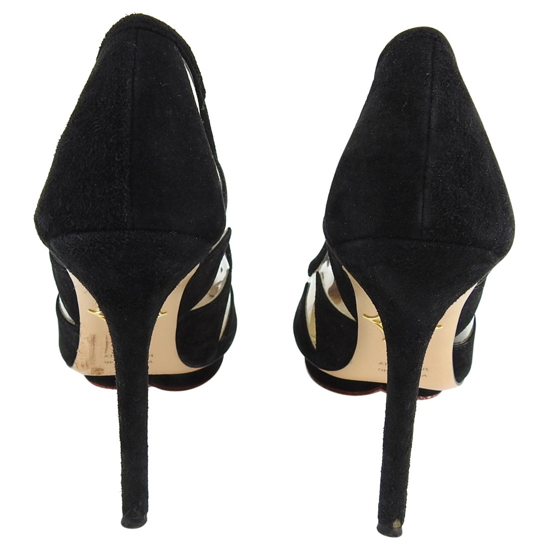 Charlotte Olympia Ana Maria Black Suede and Vinyl Pumps - 38.5