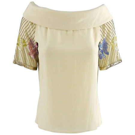 Chloe Vintage 1970's Beige Sequin Beaded Silk Top