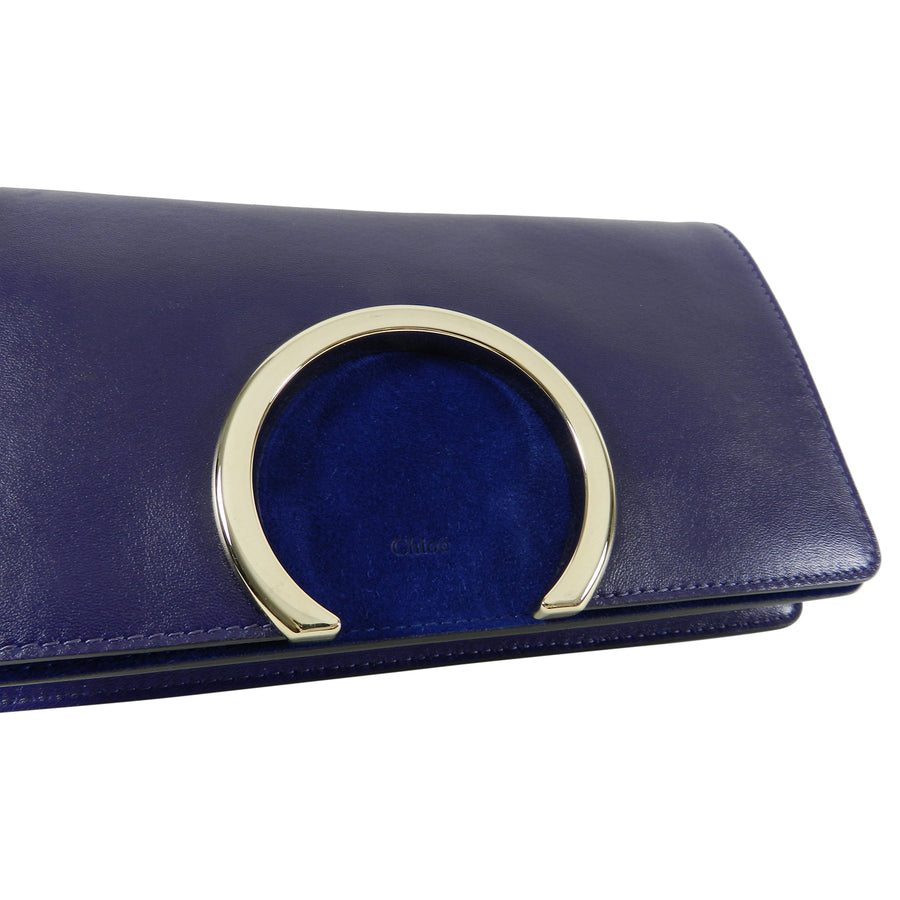 Chloe Navy Gabrielle Clutch Navy Leather and Suede
