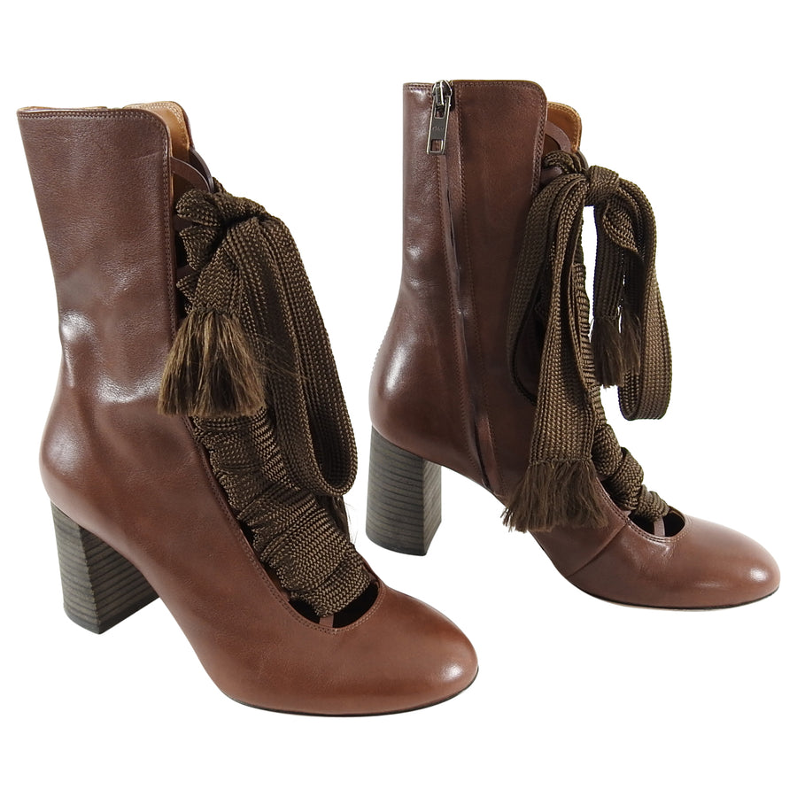 9df5a1e12a Chloe Fall 2015 Runway Harper Brown Leather Lace-up Ankle Boots - 37