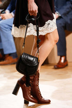 Chloe Fall 2015 Runway Harper Brown Leather Lace-up Ankle Boots - 37
