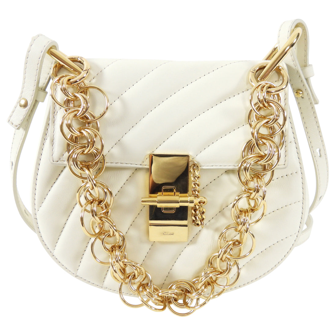 Chloe Drew Bijoux Small Ivory Quilted Chain Crossbody Bag