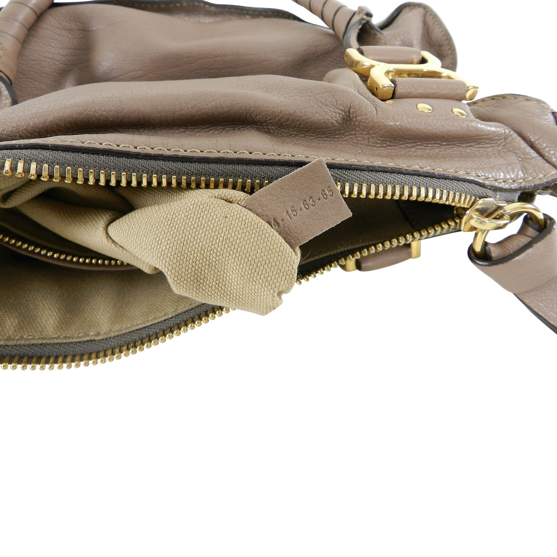 Chloe Marcie Large Satchel Bag in Taupe Leather