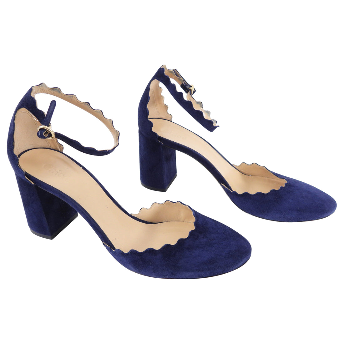 Chloe Navy Suede Scalloped D'Orsay Heels - 38.5 / 8