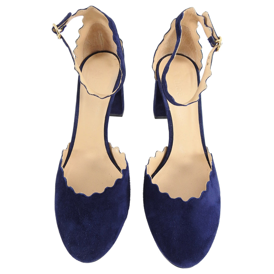 Chloe Navy Suede Scalloped Laurent Ankle Strap 75mm Chunky Heel Shoes - 6.5