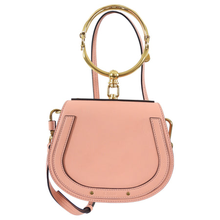 Chloe Light Pink Nile Bracelet Bag with Crossbody Shoulder Strap