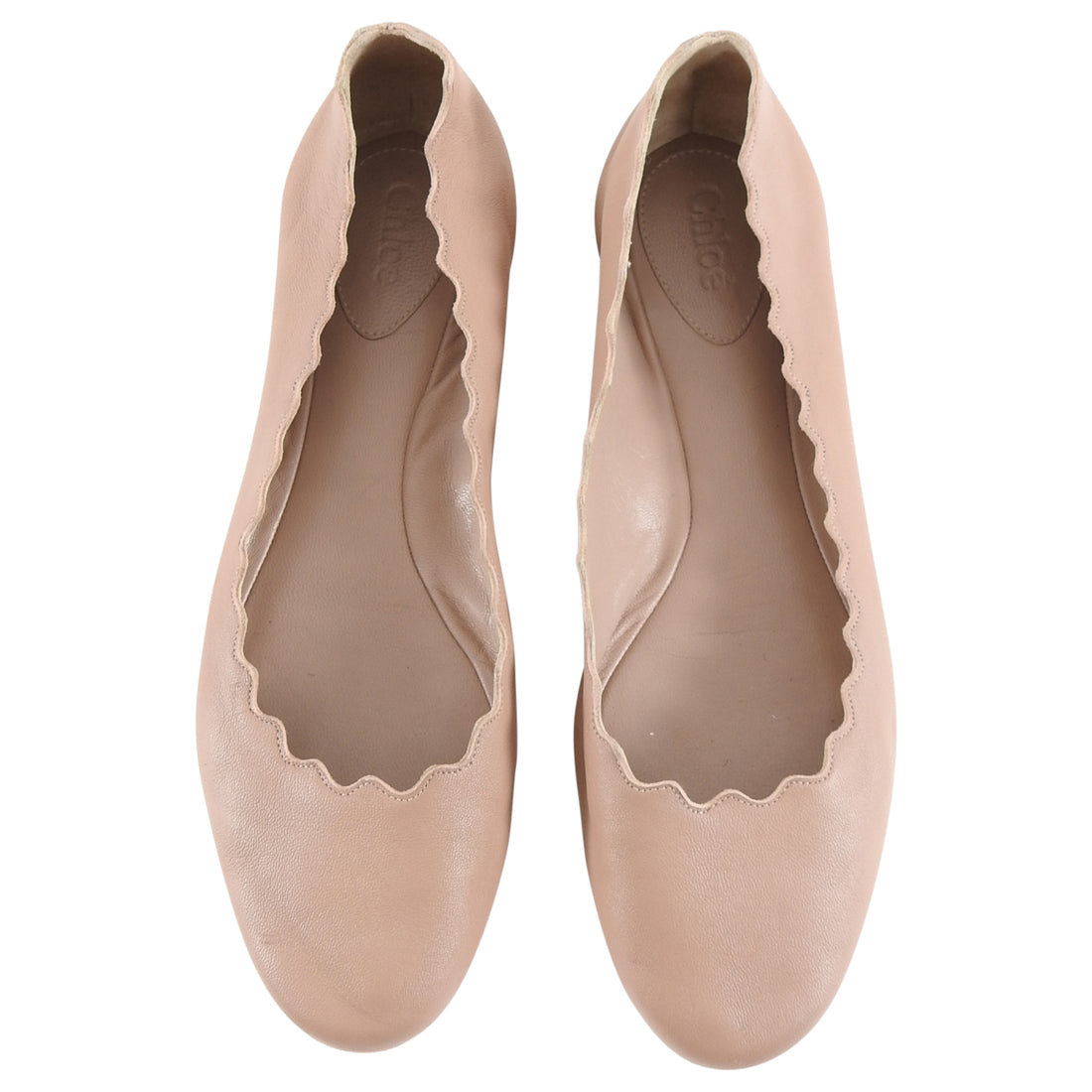 Choe Nude Scalloped Lauren Flat Shoes - 37