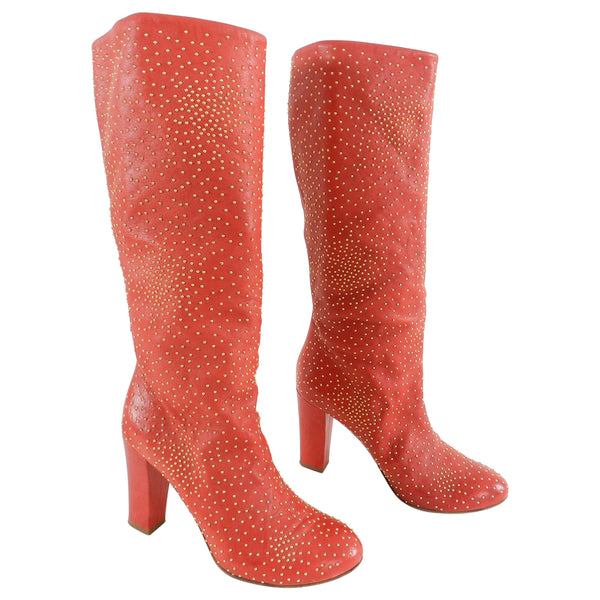 Chloe Tall Red Leather Boots with Gold Studs - 37