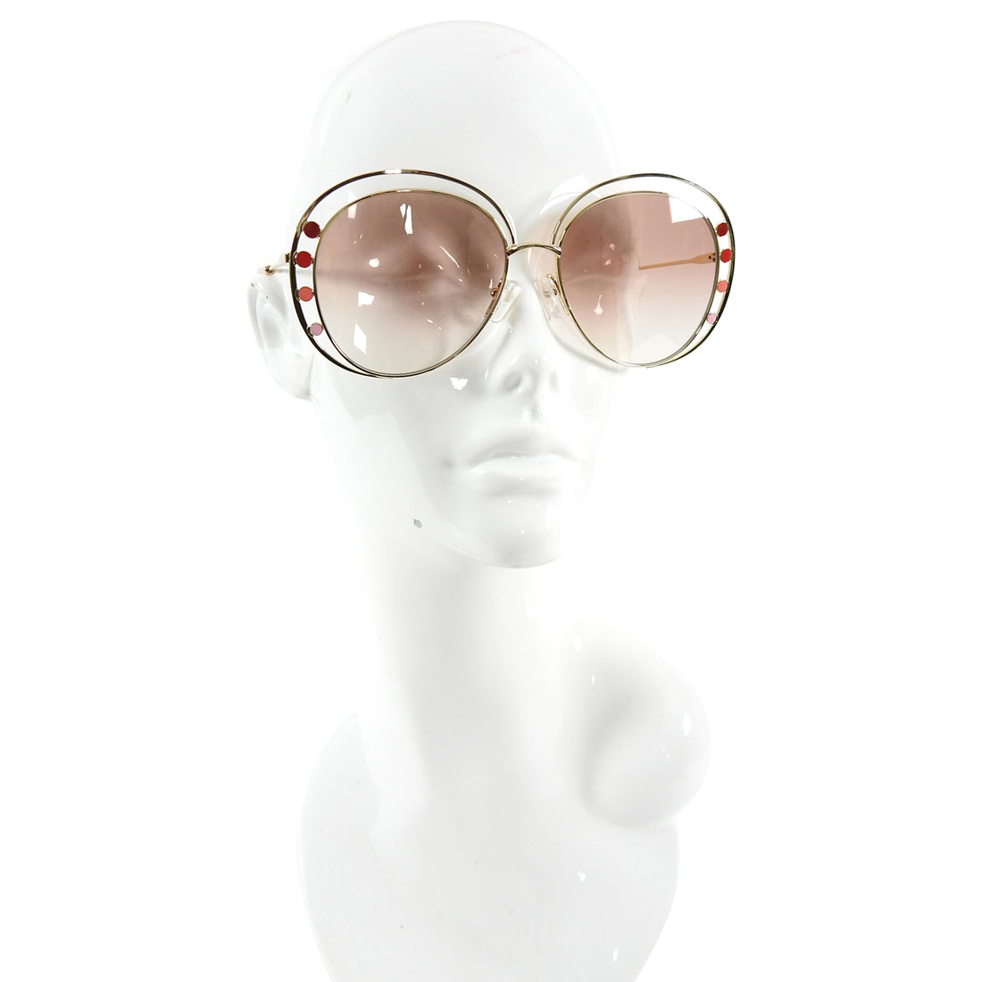 Chloe Large Oversized Round Sunglasses with Enamel Detail CE 169S