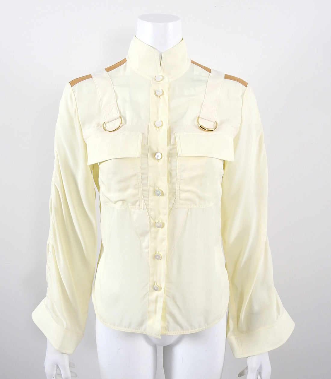 Chloe Cream Ruched Shirt with Strap Detail - 36 / 4