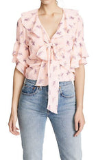 Cinq a Sept Pink Floral Ruffle Blouse