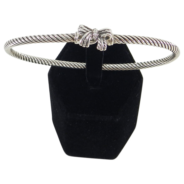 David Yurman Sterling Silver Cable Ribbon Bow Bangle With Diamonds