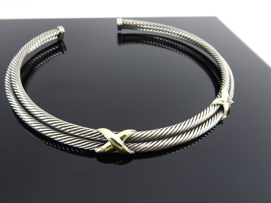 David Yurman Sterling Double Cable 14k Gold X Choker Necklace
