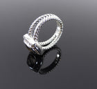 David Yurman Petite Albion Sterling Diamond Smoky Topaz Ring - 4.5