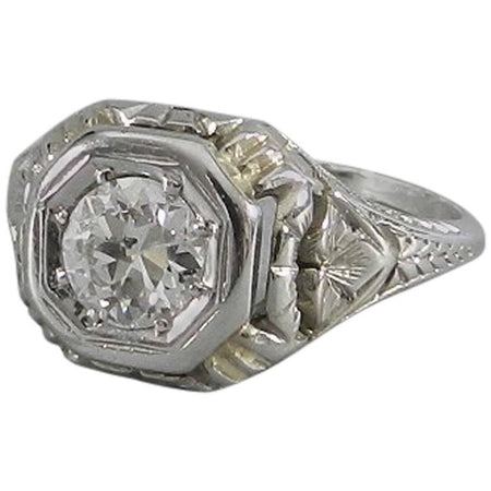 Art Deco 1920's 18k White Gold Old European Cut Diamond Engagement Ring