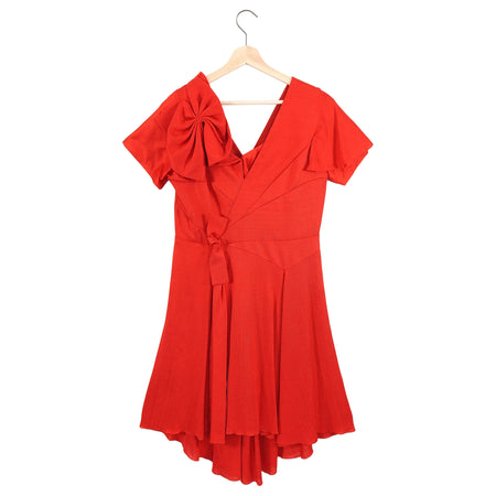 Depozo Spring 2018 Red Linen and Silk Runway Dress - L / 10 / 12