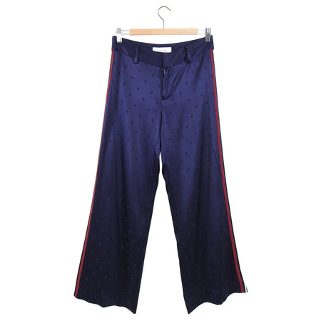 Derek Lam Navy Satin Jacquard Wide Leg Tuxedo Stripe Trousers - 2
