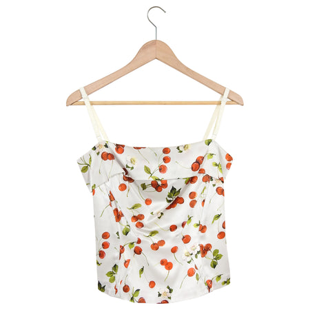 D&G Dolce Gabbana White Silk Cherry Bustier top - 44 / 8