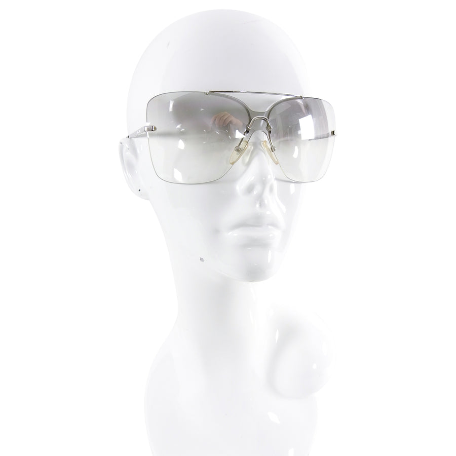 Christian Dior Early 2000's Clear Silver Motard Shield Sunglasses