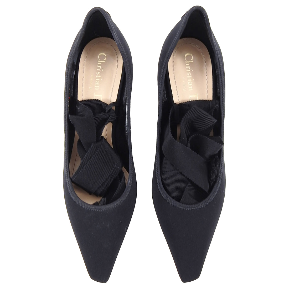 Dior Etoile Black Nylon Pumps with Acrylic Heel and Ribbon Wrap - USA 6