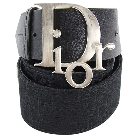 Dior Logo Black Leather and Monogram Canvas Belt - 85 / 34