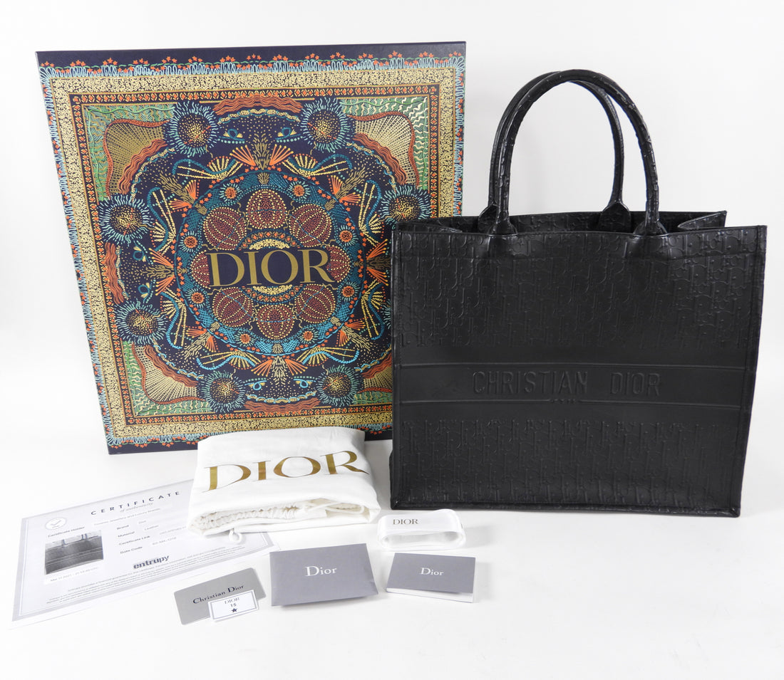 Dior Black Leather Embossed Large Book Tote Bag