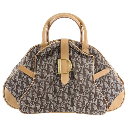 Christian Dior Brown Monogram Double Saddle Bowling Bag