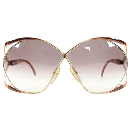Christian Dior Vintage 1980's Oversized 2056 Butterfly Sunglasses - Brown