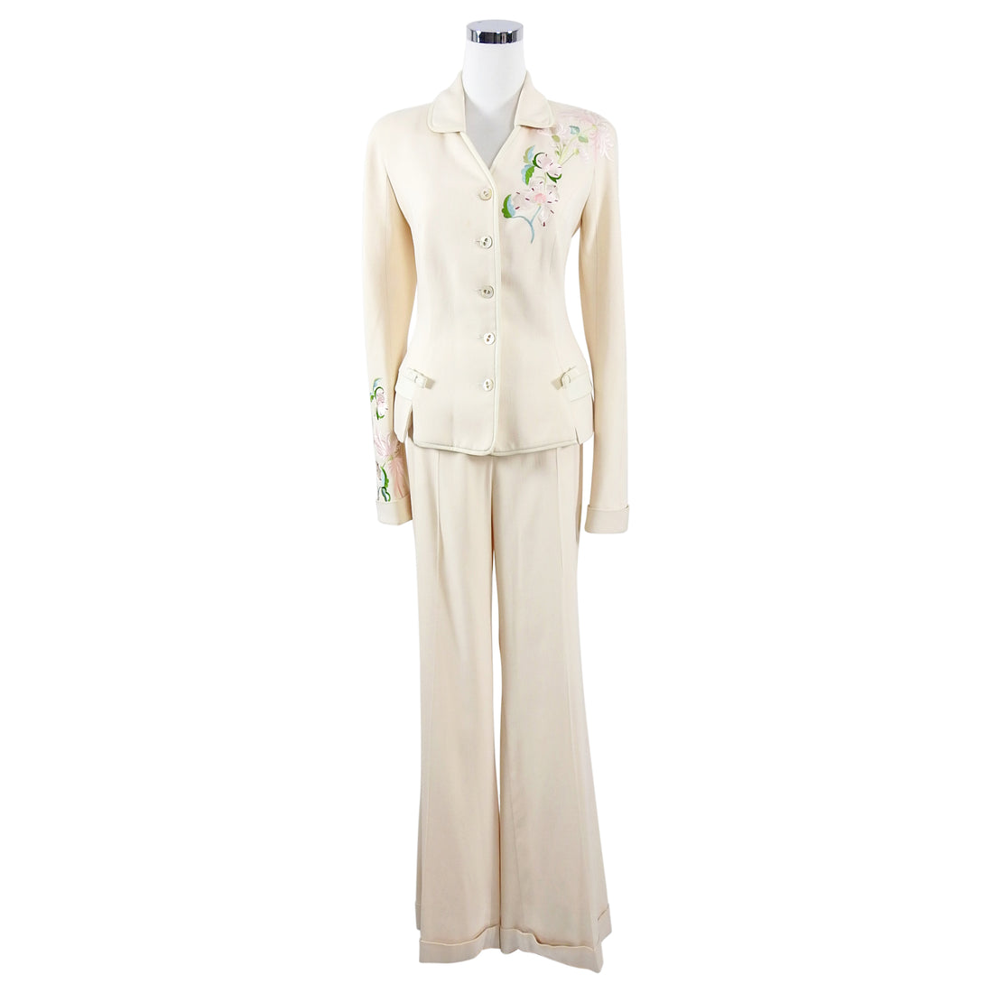 Christian Dior Vintage SS2005 Ivory Floral Embroidered Pant Suit Jacket - FR40 / 8