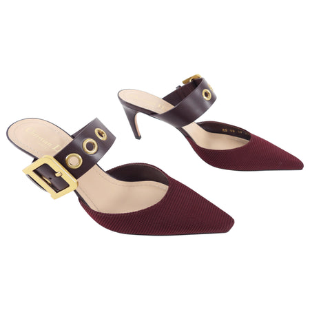 Dior D-Dior Burgundy Technical Fabric and Leather Mules