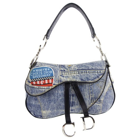 Christian Vintage Fall 2001 Dior Blue Denim Printed Double Saddle Bag