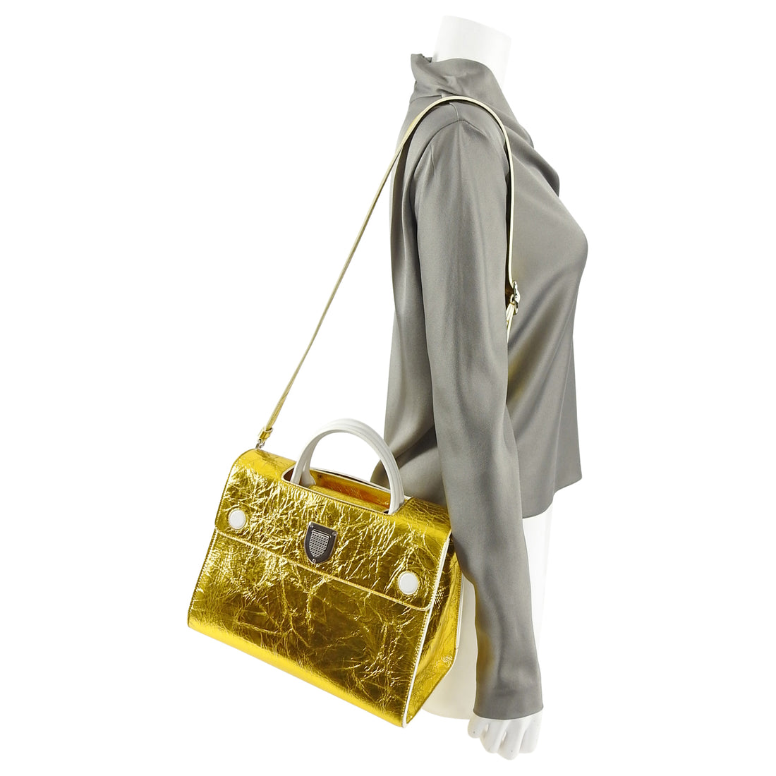 Dior Diorever Medium Gold and White Tote Flap Bag