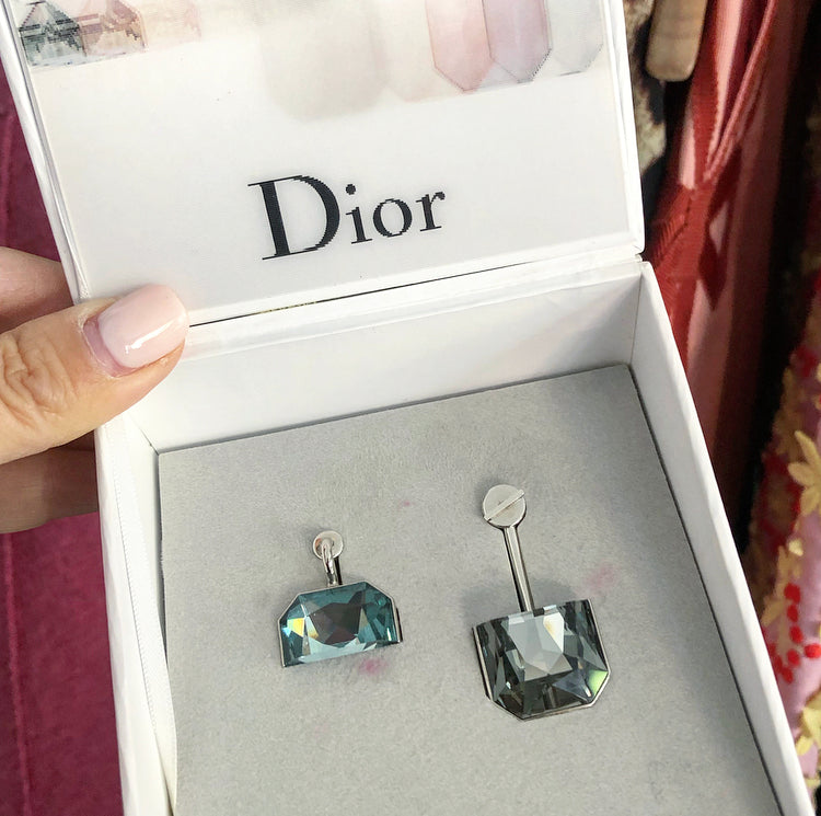 Christian Dior Cruise 2015 Half Earrings in Blue and Grey Crystal