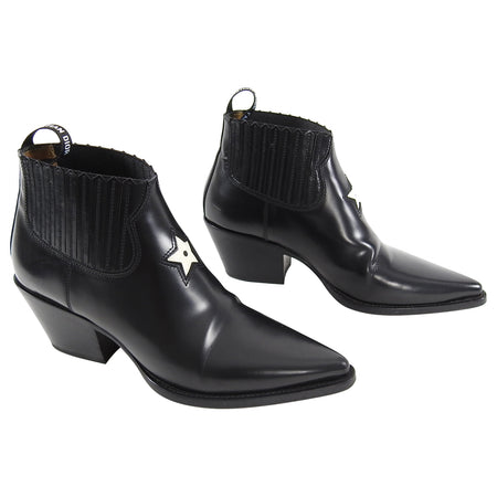 Dior LA Black Western Ankle Boots with Star Detail - 38