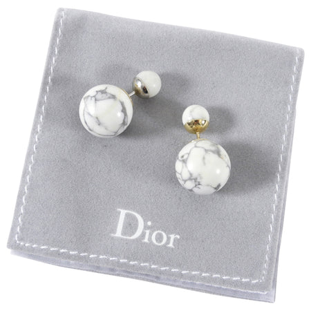 Dior Marble Howlite Mise en Dior Tribales Round Globe Earrings