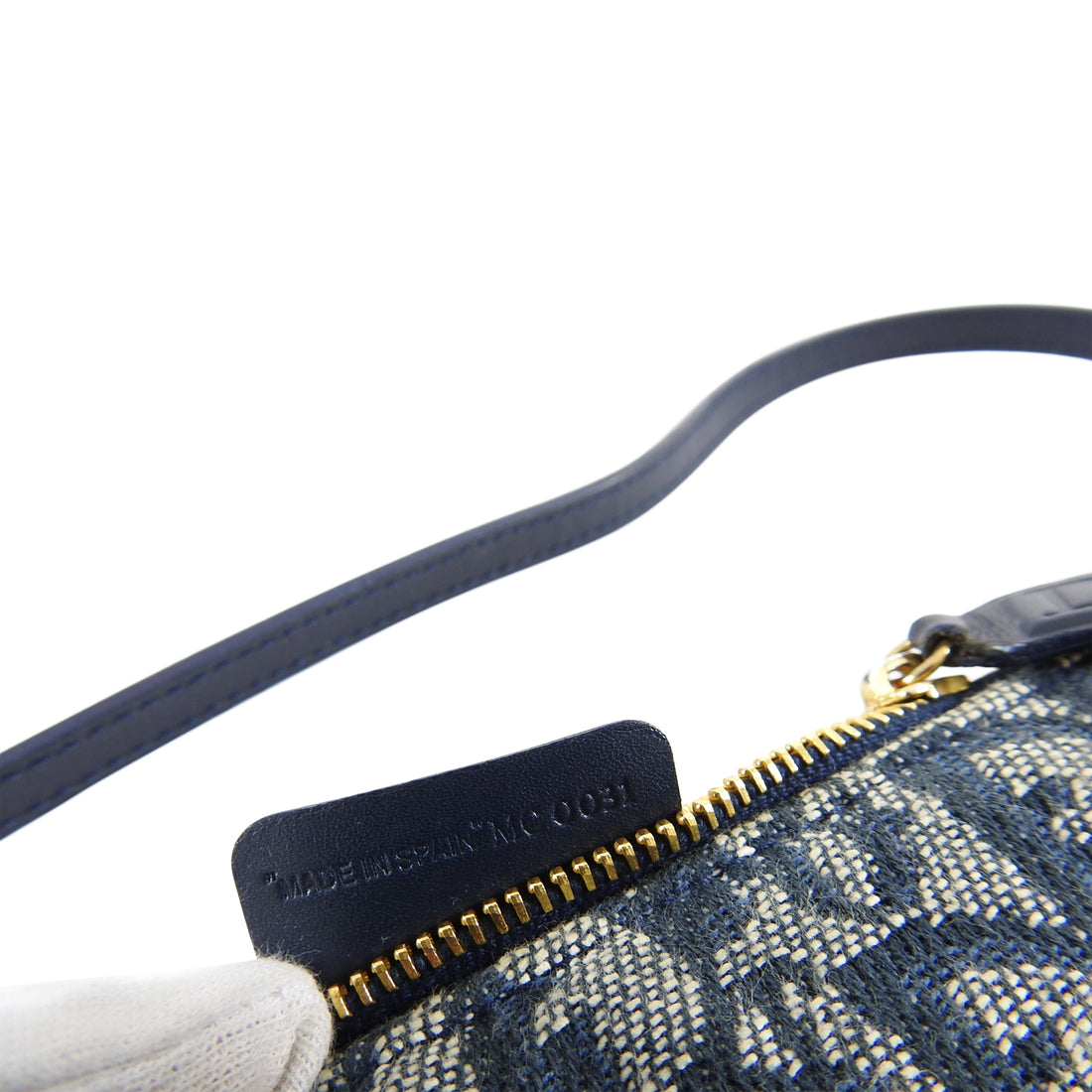 Christian Dior Vintage Blue Monogram Canvas Mini Saddle Bag
