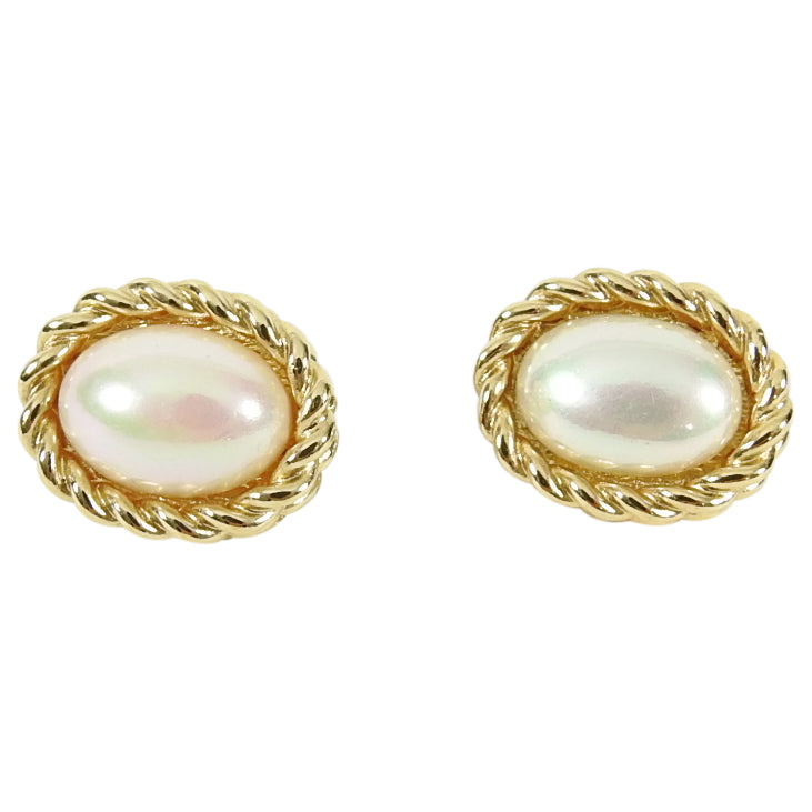 Christian Dior Vintage 1980's Faux Pearl Small Clip on Earrings