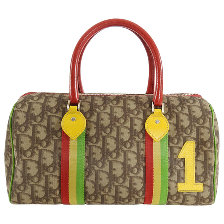 Christian Dior Galliano 2004 Monogram Canvas Rasta Boston Bag