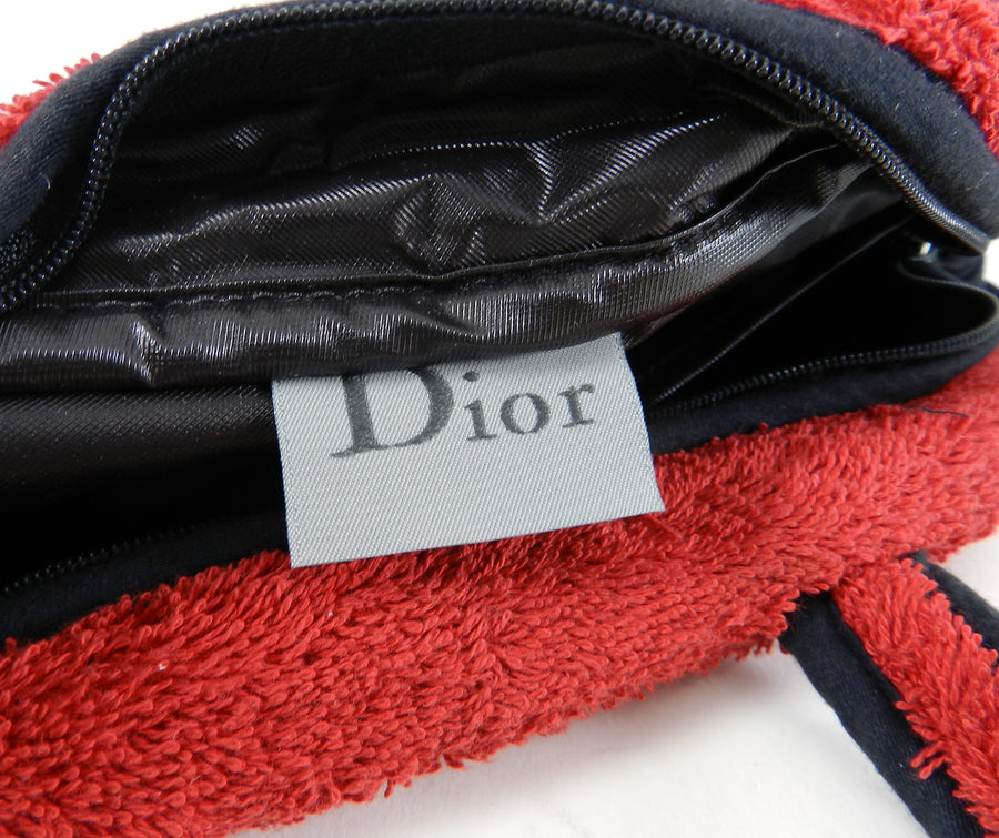 Christian Dior Vintage J'adore Dior Red Terry cloth Small Bag