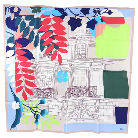 Christian Dior Silk Color Block Drawing Silk Scarf