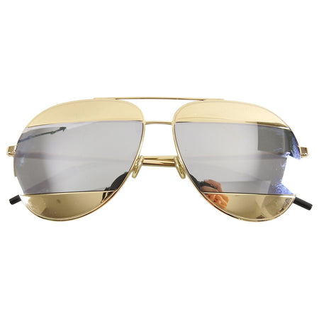 Christian Dior Split Silver and Gold Mirror Aviator Sunglasses
