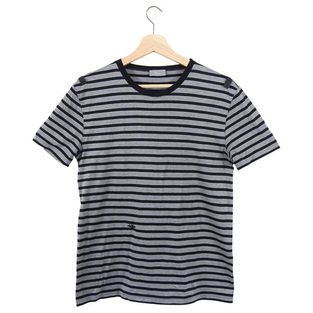Dior Grey Black Stripe Tee T-Shirt - M