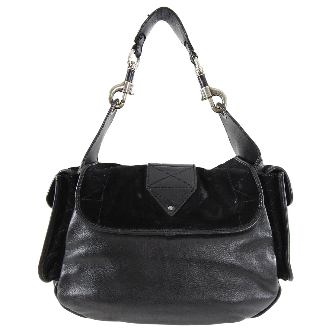 Christian Dior Rebelle Black Suede and Leather Bag