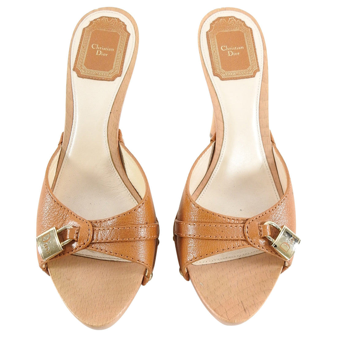 Christian Dior by Galliano Tan and Wood Lock Clog Sandals