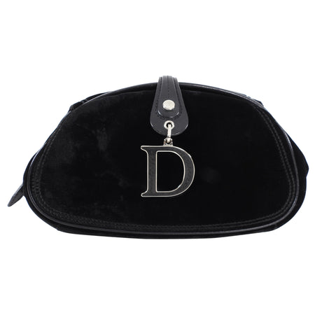 Dior Black Velvet D Charm Small Evening Clutch
