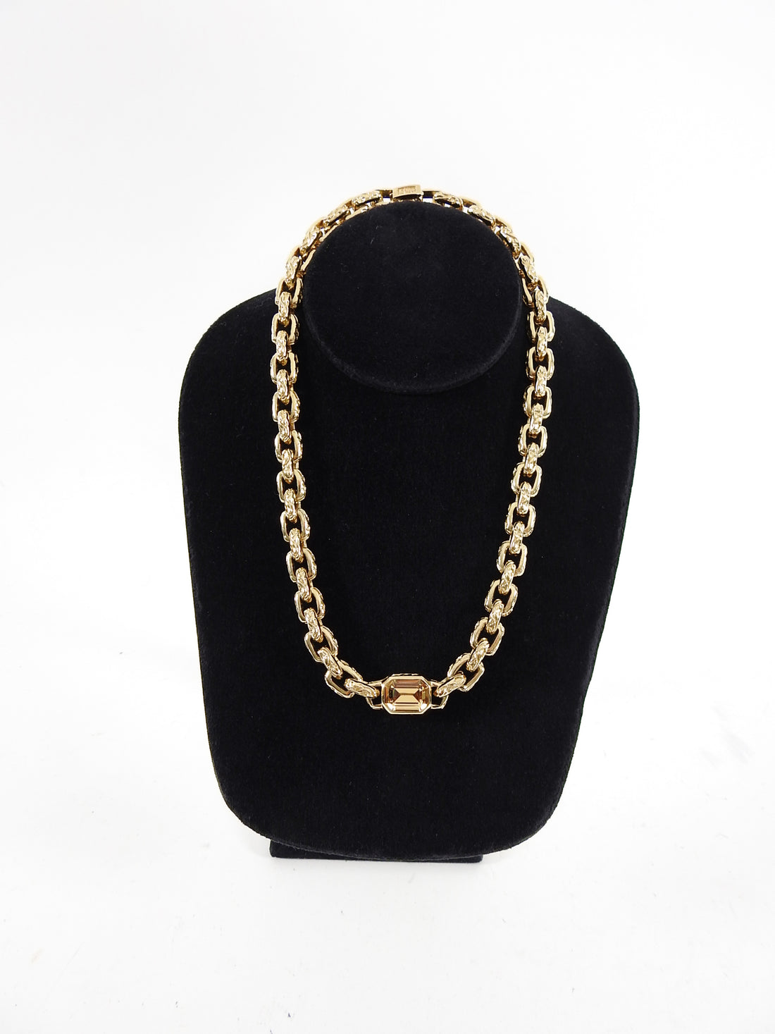 Christian Dior Vintage 1980's Gold Chain Link Topaz Necklace