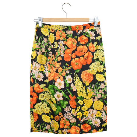 Dolce & Gabbana Orange Silk Satin Floral Pencil Skirt - IT40 / USA 4