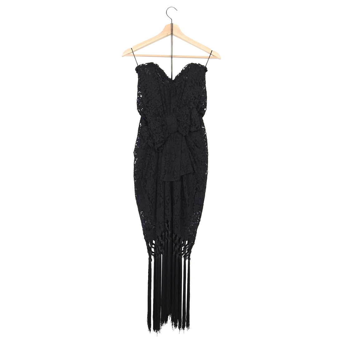 Dolce & Gabbana Black Strapless Lace Fringe Cocktail Dress – IT42 / USA 6
