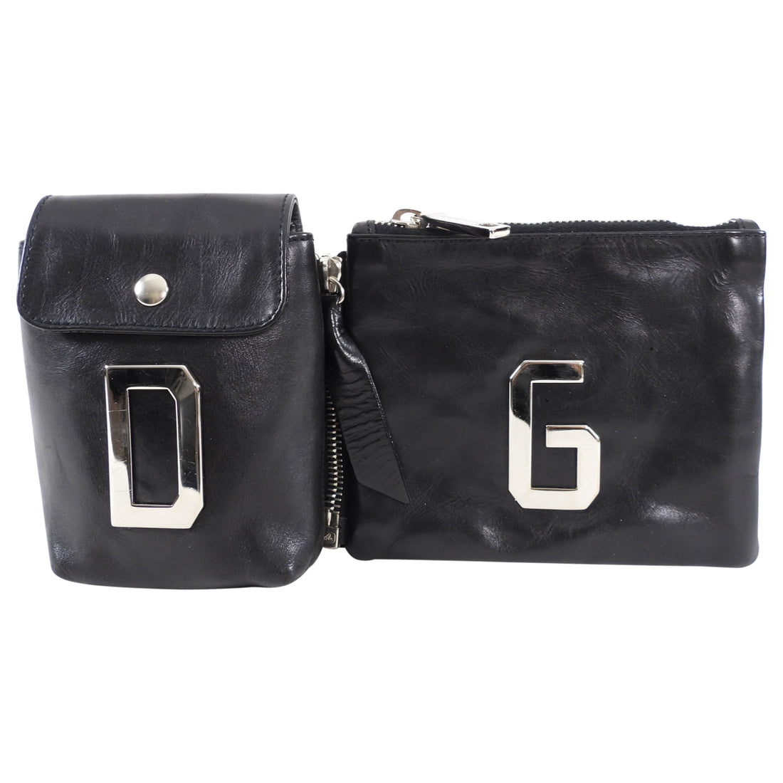 Dolce Gabbana Black Initial Zippered Leather Pouches
