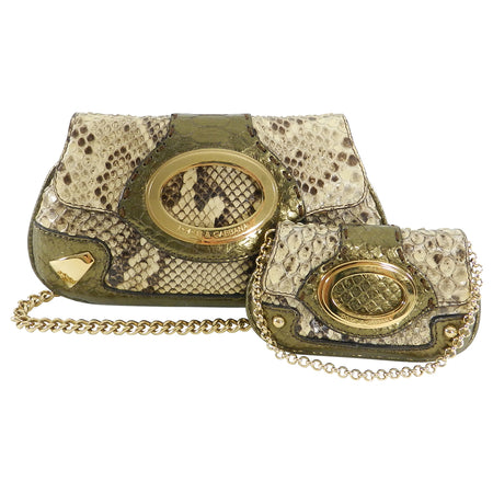 Dolce & Gabbana Bronze Python Mini Bag and Coin Pouch Set